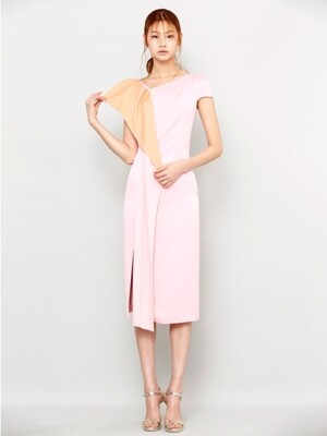 PINK DRAPE SILK DRESS