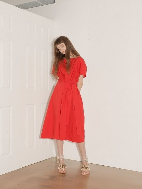18SS SQUARE NECK COTTON DRESS / RED