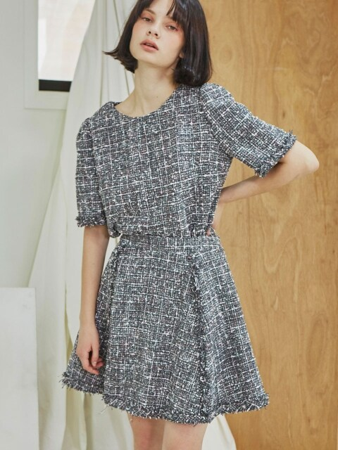 Tweed Flare Skirt_Gray