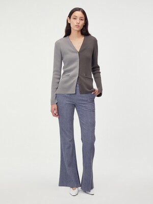 COLORBLOCK RIBBED CARDIGAN (GREY/KHAKI)