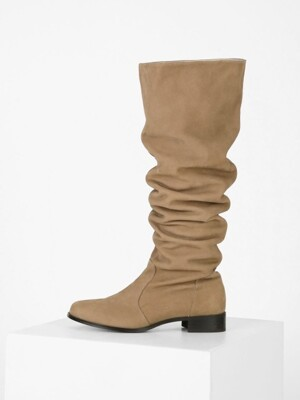 WAVE KNEE-HIGH BOOTS - BEIGE
