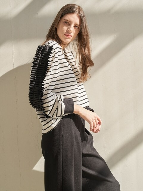 Stripe Pleats Top