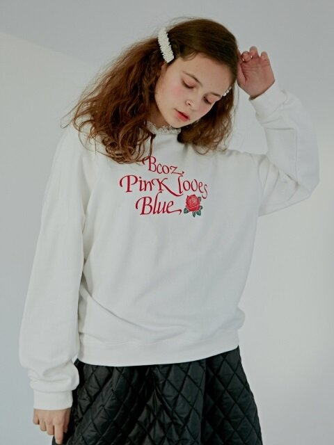 LACE ROSE SWEATSHIRT_WHITE [기모]