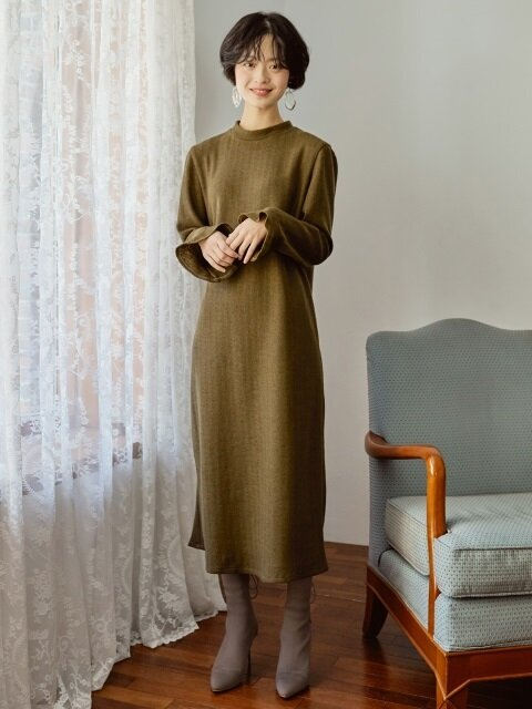 KNIT LONG DRESS _ KHAKI