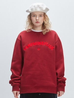 SUNSET CURLY CREWNECK BURGUNDY