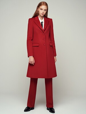 CASHMERE BLENDED WOOL CLASSIC COAT - SCARLET