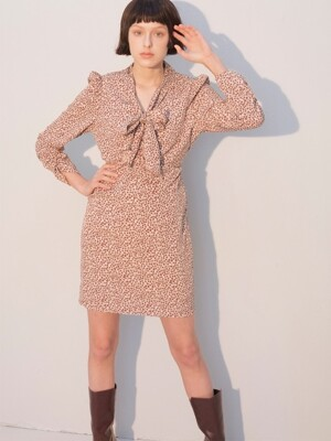 Puff Shoulder Tie Dress_Leopard