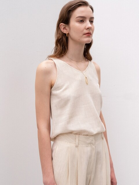 [ESSENTIAL]PREMIUM WOOL LINEN SLEEVELESS IVORY