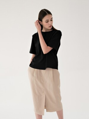 linen band skirt (beige)