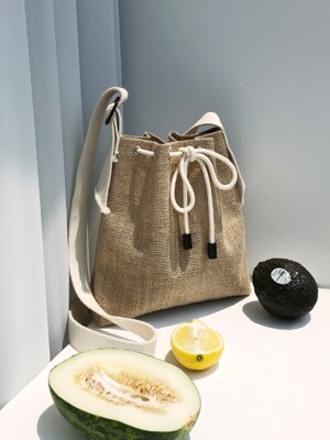 picnic mini bucket bag - beige color