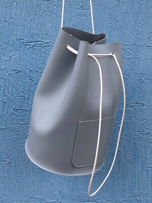 minimal cylinder bag - smokyblue color
