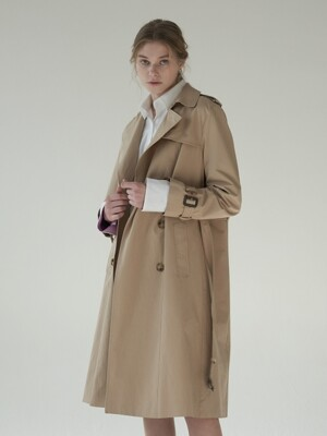 Cotton double trench coat_beige