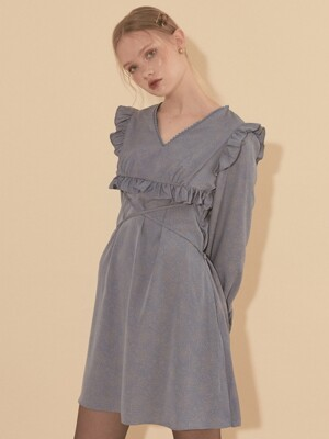 Ruffle Mini Dress_ Blue
