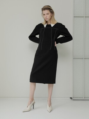 19FALL STITCH DRESS /BLACK