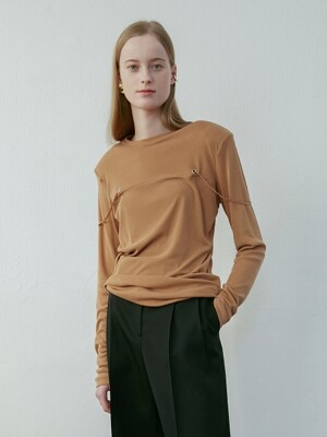 Squared Shoulder Eyelet Top(Orange)