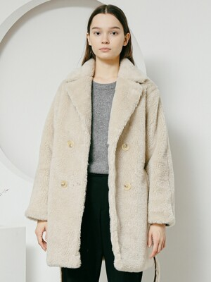 Double half fake fur coat ivory