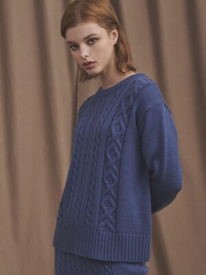 19 TWISTED ROUND KNIT [BLUE]