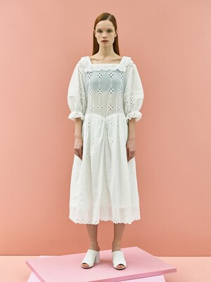 Girlish Lace Cotton Dress in White
