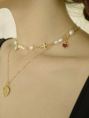 Spring Waltz Pearl Necklace (Gold)