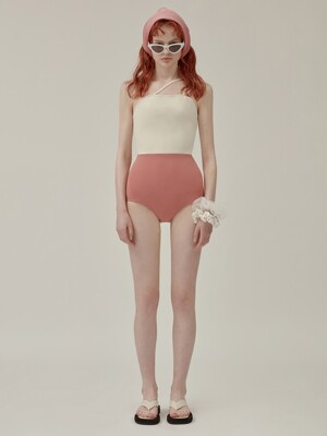 2 WAY CROSS STRAP SWIMSUIT SET_pink