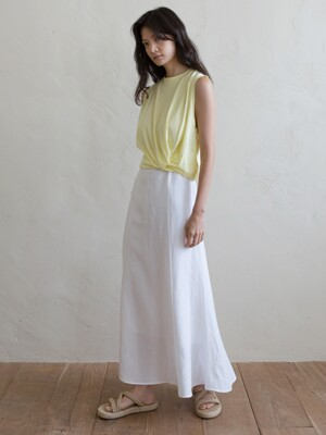 KNOT SLEEVELESS TOP - LEMON