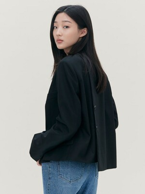 Signature Button Detail Short Jacket - Black (KE0811M045)
