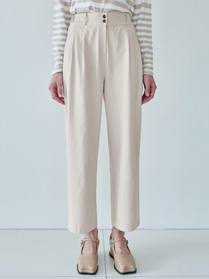 PINTUCK WIDE COTTON PANTS_CREAM