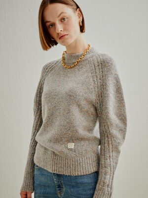 CABLE SLEEVE WOOL KNIT-PULLOVER 2 COLORS (AESW0F006)