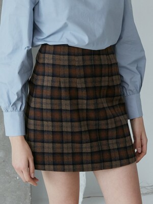 comos'450 wool check mini skirt (brown)