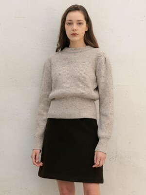 Volume Slim Wool Knit_Beige