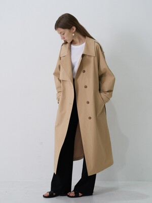 21' Spring_ Beige Semi-Double Trench Coat