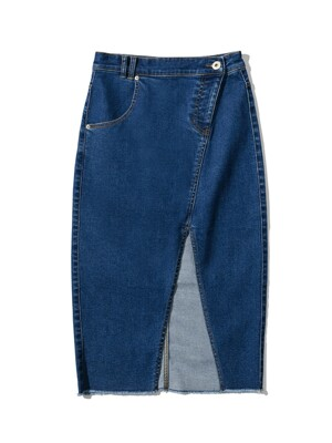 FRONT CUT DENIM LONG SKIRT [BLUE]