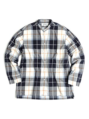 BANDED COLLAR OVER SHIRT / NAVY&WHITE CHECK