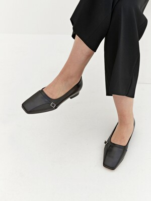 20mm Mateo Square Toe Flat (Black)