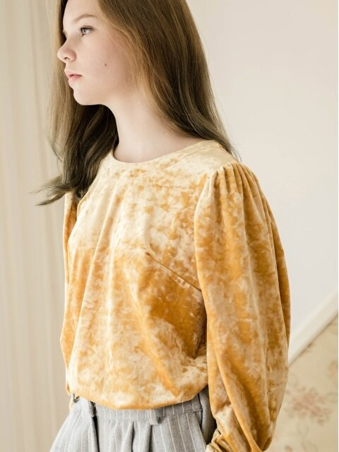 volume sleeve velvet blouse-yellow