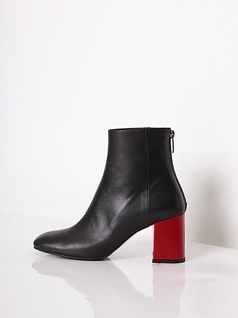 BACK POINT SQUARE BOOTS - BLACK + RED_7cm