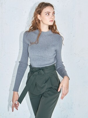 Ribbed knit top #Grey