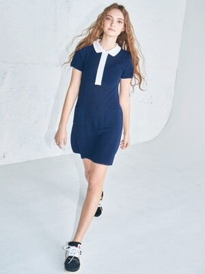 Polo knit dress Navy