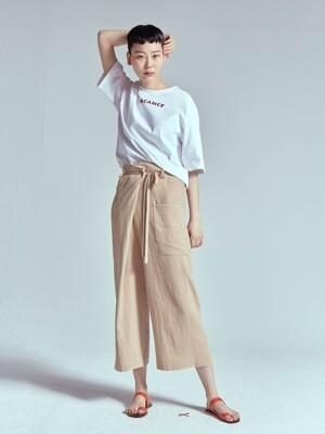 BUCKET WRAP LINEN WIDE PANTS [BEIGE]