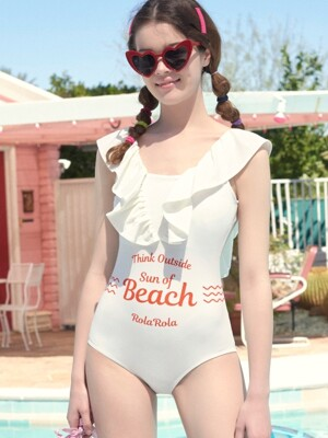 (OP-18372)SHIRRING V ZONE ONEPIECE SWIMSUIT WHITE