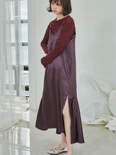 Long Slip Ruffle Dress_Burgundy