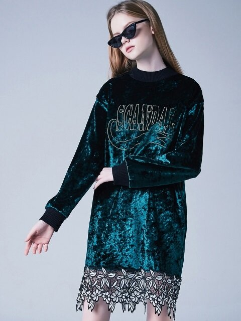 VELVET LACE DRESS-GN