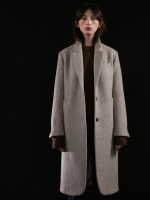 unit | Coat Harringbone Single Wool Oat Meal