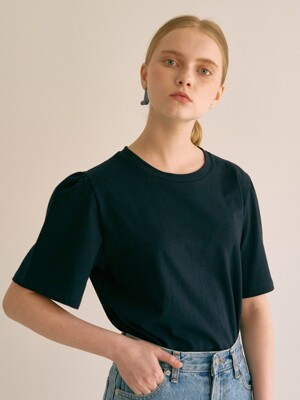 ouie45 Shoulder shirring T-shirts (navy)