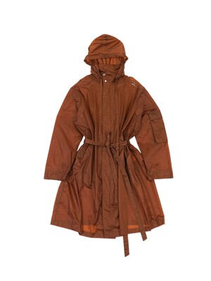 Brown Luminous Logo Print Rain Coat [made to order](Genderless)