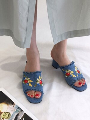 Embroidery Denim Mule
