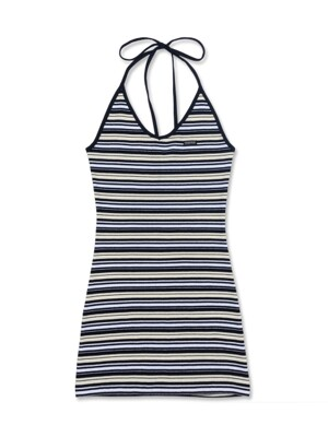 [SSS] RM HALTER DRESS [MULTI NAVY]