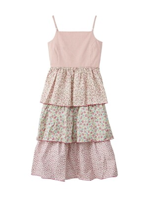 Flower back string dress - Pink