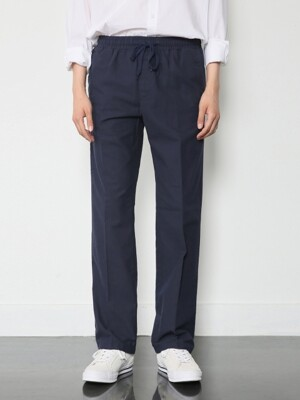 V278 BASIC LINEN BANDDING PANTS_NAVY