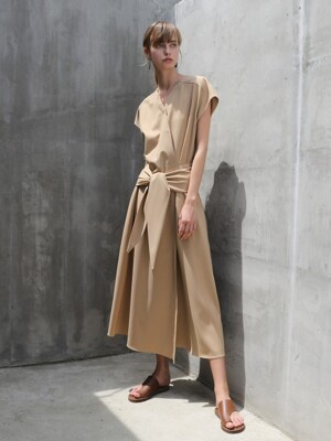 Midi wrap One-piece_Beige